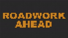 Roadwork ahead sign digital notifications  Stock Footage