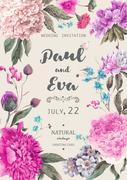 Vintage floral vector wedding invitation Stock Illustration