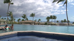 Poolside in Hawaii - stock footage