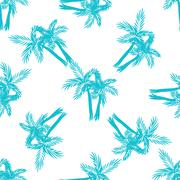 Palm trees seamless vector pattern Stock Illustration