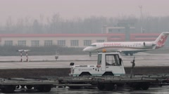 Moscow 2015-05-01 crj-100 bombardier moving on a taxiway in the airport in a Stock Footage