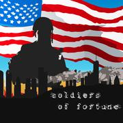 Armed soldiers in front of the American flag Stock Illustration