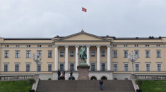 Time Lapse of Clouds & People at the Royal Palace Oslo Norway Stock Footage
