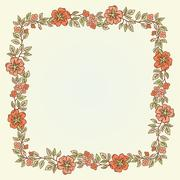 Vector vintage doodle flowers frame for text - stock illustration