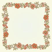 Vector vintage doodle flowers frame for text Stock Illustration