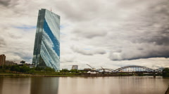 ECB Frankfurt Timelapse Stock Footage