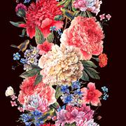 Vintage floral seamless watercolor peonies border - stock illustration
