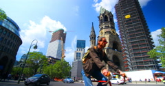 Berlin City Church Traffic Day Colorfull - stock footage