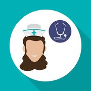 Medical care concept. Nurse icon. White background , vector Stock Illustration
