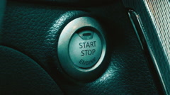 Starting Car Engine With the Button Stock Footage
