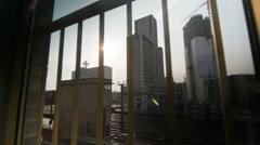Berlin Window City Train Upper West Skyline- - stock footage