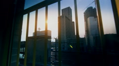 Berlin Window City Train Upper West Skyline Cool - stock footage