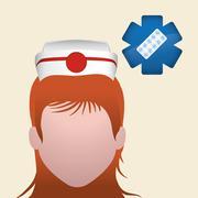 Medical care concept. Nurse icon. White background , vector - stock illustration
