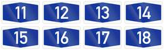 Collection of Numbered highway shields of German Autobahn system Stock Illustration