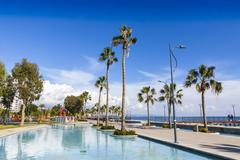 Promenade alley at Molos Park in center of Limassol, Cyprus - stock photo