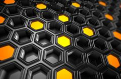 3d Rendering of Futuristic Surface with Hexagons Stock Illustration