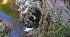Rakov Skocjan caves park, Karst Slovenia. River water spring fall Stock Footage