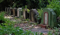 old tombstones and graveyards - stock photo