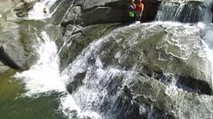 4K Rock Waterfall Jump Dive - stock footage