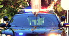 4K Police Car Emergency Lights Flashing, Top Bar and Grill, Red and Blue Light Stock Footage