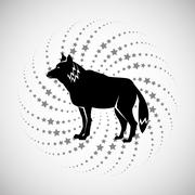 Animal design. wolf icon. Silhouette illustration , vector - stock illustration