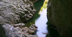 Skocjan park, Slovenia, Karst. Skocjan cave. Cave hiking. Cave trail entrance Stock Footage