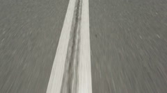 Moving on the Road. Running lane markings Stock Footage