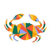 crab and abstract shapes illustration - stock illustration