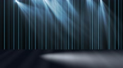 virtual stage and curtains with moving lights - stock footage