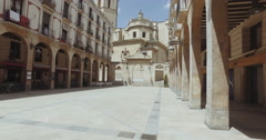 Steadicam moving view of old buildings in gothic district, Reus, Spain Stock Footage