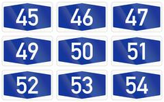 Collection of Numbered highway shields of German Autobahn system - stock illustration