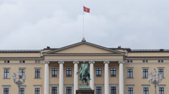 Zoom Out - Time Lapse of Clouds & People at the Royal Palace Oslo Norway Stock Footage