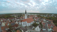 Aerial footage of church  in Rein Germany Stock Footage