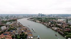 4K Aerial Stock Footage of Canary Wharf And River Thames, London England Stock Footage