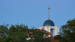 Cross on Top of Catholic Church Stock Footage