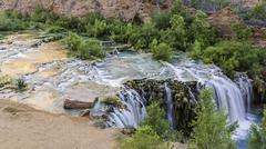Little Navajo Falls Reflecting Pools - stock photo