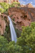 Havasu Falls Travertine Forest and Sky - stock photo