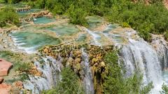 Little Navajo Falls and Travertine Pools - stock photo