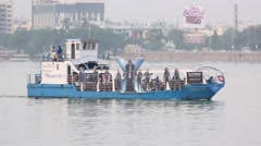 Boat ride in Hussain Sagar lake Stock Footage