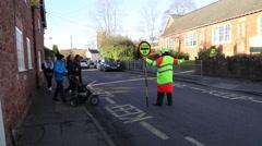 School traffic crossing, Bishops Lydeard,  UK Stock Footage
