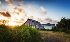 Old Barn at Sunset, Panoramic Color Image - stock photo