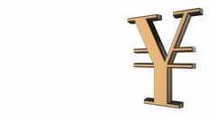 Animated spinning black-golden Yen-yuan sign against white background. - stock footage