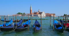 Gondolas at San Marco Venice, Italy. Venice travel background. Holiday travel Stock Footage