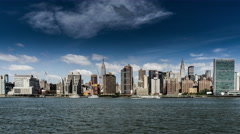 In the sunny day, Manhattan skyline, New York City, NY Stock Footage