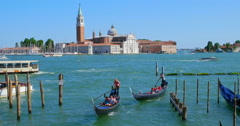 Boating gondolas in Venice, Italy. Travel background. Italy travel background Stock Footage