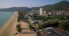 Ascending Drone Shot Over Karon Town and Beach Phuket Thailand Stock Footage