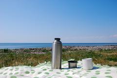 Coffebreak on the beach - stock photo