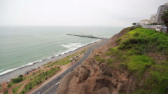 Lima at daytime with the pacific ocean as the main subject - stock footage