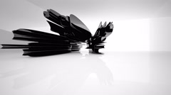 Abstract interior with glossy black sculpture. Stock Footage