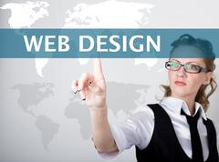 web design written on a virtual screen. Internet technologies in business and - stock photo